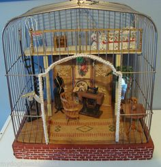OOAK Vintage Birdcage Dollhouse Miniature Sewing Room Scene 1 12 Scale Old | eBay