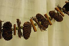 pinecone, bead, cinnamon stick, bead, twigs, bead.
