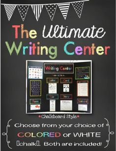The *Ultimate* Writing Center - Chalkboard Style from Mrs Gilchrists Class on TeachersNotebook.com -  (49 pages)  - The ULTIMATE Writing Center. This is an amazing 52-page kit!!! Samples in this kit are differentiated.  There are four titles to choose from and two sizes of topic headings to fit different sizes of tri-fold boards, bulletin boards, walls or binders.