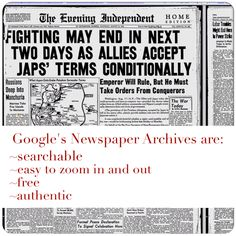 Creating Lifelong Learners: Google's Newspaper Archives {Social Studies Mentor Text}