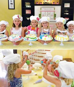 build a cake - fun party idea for when the girls are bigger! Love the chef hats and cake stands!