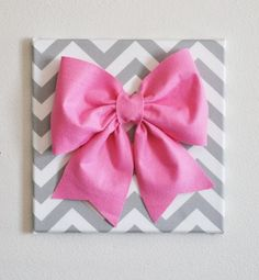 Large Pink Bow on Gray and White Chevron 12 x12 Canvas Wall Art- Baby Nursery Wall Decor- Zig Zag