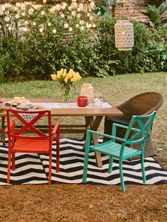 Love these colorful chairs for the backyard. Hello, spring!