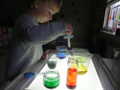 Try a little color mixing on the light table!