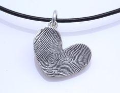 Sterling Silver Custom Thumbprint Heart Pendant