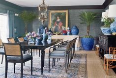 interior design, dining rooms, dine room, color, blue, design interiors, architecture interiors, british colonial style, mari mcdonald