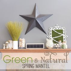 Green and Natural Fireplace Mantel Decor for #spring