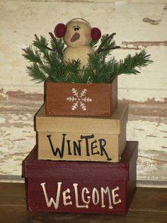 Seasonal and Holiday, Handpainted, Winter Decor, Winter Stacking Boxes