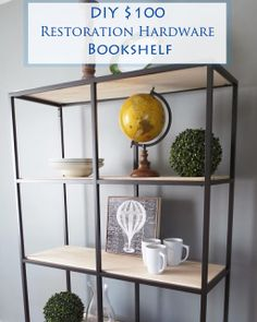 diy 100, bookcases, restoration hardware, restor hardwar, hardwar bookshelf, 100 restor, wood shelves, restorations, ikea