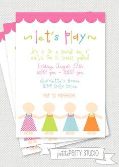 PARTY PRINTABLE - Paper Doll Birthday Invitation - Petite Party Studio. $12.00, via Etsy.