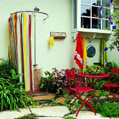shower ideas, shower designs, outdoor bathrooms, outside showers, beach cottages, curtain rods, outdoor showers, hot tubs, shower curtains