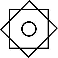 """The Rub el Hizb is a Muslim symbol, represented as two overlapping squares, which is found on a number of emblems and flags. In Arabic, Rubʻ means """"one fourth, quarter"""", while Hizb means a group or party. Initially, it was used in the Quran, which is divided into 60 Hizb (60 groups of roughly equal length); the symbol determines every quarter of Hizb, while the Hizb is one half of a juz'. The main purpose of this dividing system is to facilitate recitation of the Qur'an."""