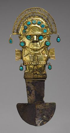 Ceremonial Knife (tumi), 9th–11th century  Peru, Sicán (Lambayeque)  Gold, silver, turquoise
