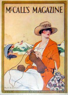 McCall's Magazine, July 1915 - lady, hat & orange sweater, beach