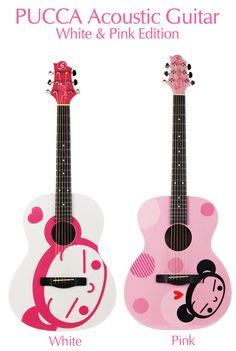 Pucca Acoustic Guitar, White & Pink Edition [I've always wanted to learn the acoustic guitar...]
