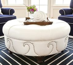 Nailhead Wave Pattern white leather. Ottoman -DIY Design Idea with a Modern Edge.