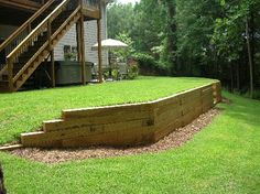 retaining wall near deck stairs