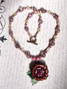 """Leather Flower"" necklace & earrings"
