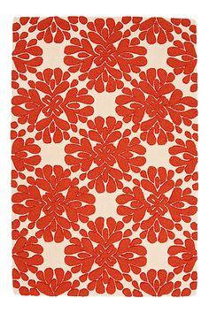 coral floral rug