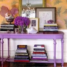 {rhapsody} interiors. entry tables, shades of purple, painted furniture, painted tables, hall tables, accent tables, entry hall, bold colors, console tables