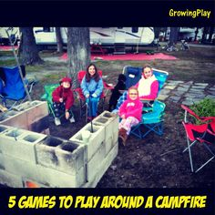 Some fun campfire game ideas (couple could be used as get to know you games etc): Growing Play: 5 Games to Play Around a Campfire