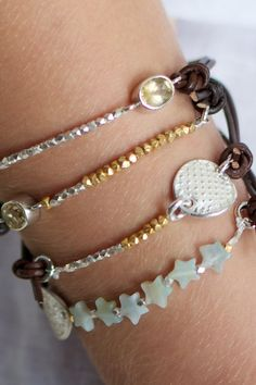 leather bracelet with topaz. Such tiny delicate beads! Use this pic.