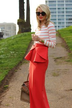 Atlantic-Pacific. Stripes and peplum