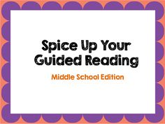 Spice up your middle school guided reading program with these 6 simple quick changes by 2 Peas and a Dog. guid read, write workshop, guided reading, intermedi guid, school idea, ela read
