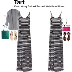 """""""Viola Jersey Striped Ruched Waist Maxi Dress"""" by katrinalake on Polyvore"""