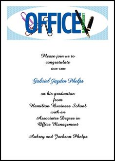choose from our totally unique and popular office management graduation announcements and free office administration gradation invitations and for your school graduate commencement and ceremony at InvitationsByU, card 7596IBU-OT saving as low as 79¢