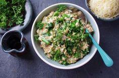 #Recipe for farro risotto with broccoli rabe