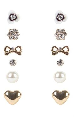 Deb Shops Set of 6 Stud Earrings with Hearts and Bows $6.00