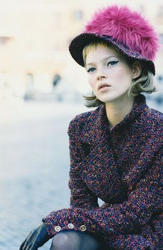 Kate Moss in Chanel, photographed by Peter Lindbergh.