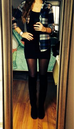 Flannel on black dress, tights