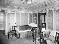 Stateroom B-58 onboard Titanic, Decorated in Louis XVI style, March 1912
