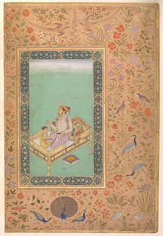 This superbly painted image framed by a splendid border shows the future emperor Shah Jahan admiring jewels with his favorite son. Holding a tray of emeralds and rubies, the father contemplates a ruby in his right hand, while the child grasps a peacock fan and a turban ornament