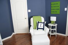 If I ever had another kid and it was a boy, this is what colors his room would be. Love it! Navy, White & Green Nursery