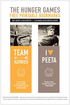 My daughter just got book #2  #3 yesterday - I'm printing these #TheHungerGames bookmarks for her! via @livinglocurto