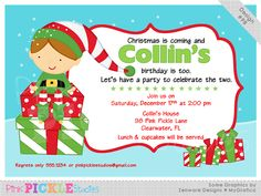 Elf Boy Personalized Party Invitation-personalized invitation, photo card, photo invitation, digital, party invitation, birthday, shower, announcement, printable, print, diy, christmas, holiday