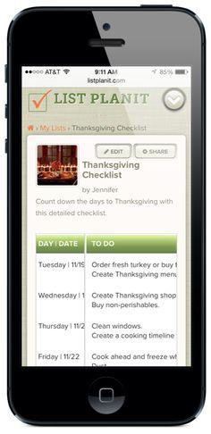 Thanksgiving Countdown Checklist | ListPlanIt.com