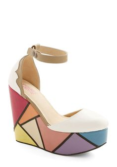 Stained glass style wedges. Really neat. You could wear these with anything!
