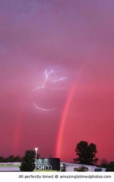 Lightning between double rainbow