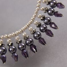 Casual, Romantic, Statement Necklace, Purple, Crystal,  Wedding Jewelry, Bridesmaid Necklace. $42.00, via Etsy. beaded pearl jewelry, statement necklaces, shell pearl, bridesmaid necklac, bead necklaces
