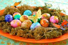 Hot Rock Eggs (melted crayon shavings on eggs)