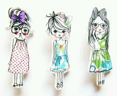 shrink plastic 'trend girls' broche shrink plastic, shrinki dink, plastic brooch diy