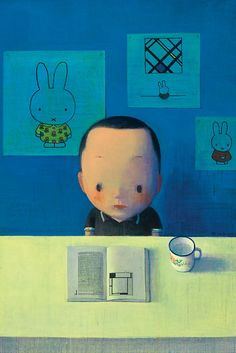Liu Ye ... one of China's bestselling painters. He seems somewhat inspired by Magritte, but is also quite obsessed with Mondrian and Dick Bruna's excellent Miffy childrens picture books. That's my kind of artist! :) This painting seems to portray how well drawn childrens books can lead to an interest in art. I had the same experience with Carl Barks duck comics....