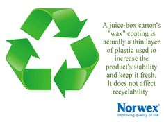 Recycling question - Why do #juice-box cartons have that wax coating? It turns out that seemingly waxy coating isn't wax at all – it's actually a thin layer of plastic used to increase the product's stability and keep the product inside fresh. It does not affect its recyclability at all.