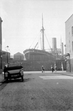 The General Steam Navigation Company's 'Merel' in the Regent Dry Dock, near the West Ferry Road on the Isle of Dogs, around 1930