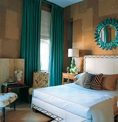 Love how dramatic this room looks by taking the teal drapes all the way to the ceiling.. by designer Jamie Drake. The backdrop of the earthy walls really makes the colors pop! ...future hubby better be on board with my color choices!! :)