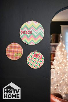 HGTV's @Kayla Kitts used embroidery hoops and HGTV HOME Fabric to create this beautiful vignette–bright & fun to keep you smiling through the season. #12DaysOfHGTVHOME